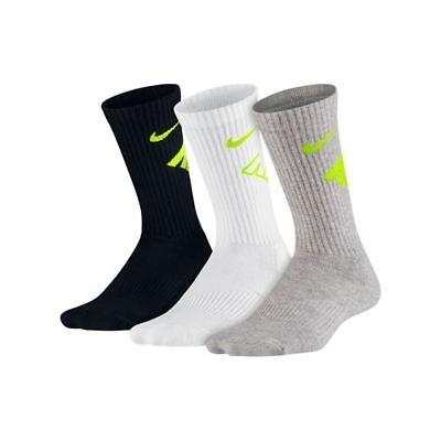 5y-7y NWT Nike Boy Socks Cushioned Performanc 6 Pairs White//Black Size M