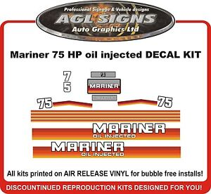Automotive Mercury Mariner 175 hp 2.5 Litre Outboard Decal Kit  reproductions Parts & Accessories