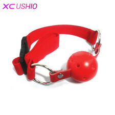 Red Faux Leather Head Harness Ball Gag Restraint Mask Mouth Gag (CH)