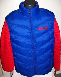c6f16145 Details about BUFFALO BILLS 2 Piece Nylon Systems Jacket & Vest Combo RED  BLUE Medium Large