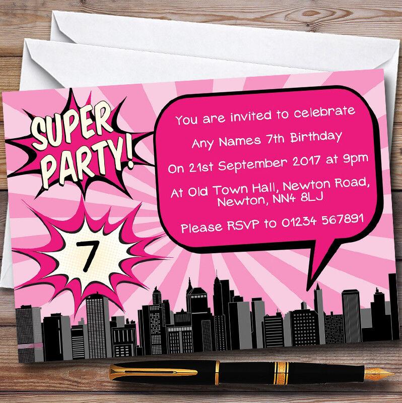 Rose Bande Personnalisé Dessinée Super Héros Personnalisé Bande  s Fête D'Anniversaire Invitations 4ed278