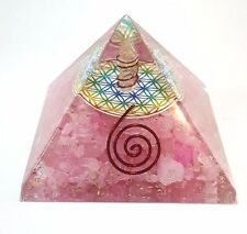 Orgonica Pirámide de flor de la vida de Cuarzo Rosa Con Punto De Cristal De Carga Bobina De Cobre