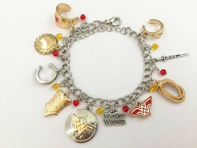 DC Comics Wonder Woman Charm Bracelet Superhero Charms Women Bangle ... 75a70e26c443