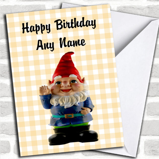 Cute Smiling Gnome Personalised Birthday Card Ebay