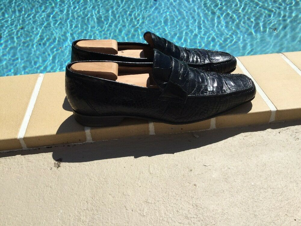 CAPORICCI Black Genuine Alligator Penny Loafers Shoes Sz 11M Made In Italy
