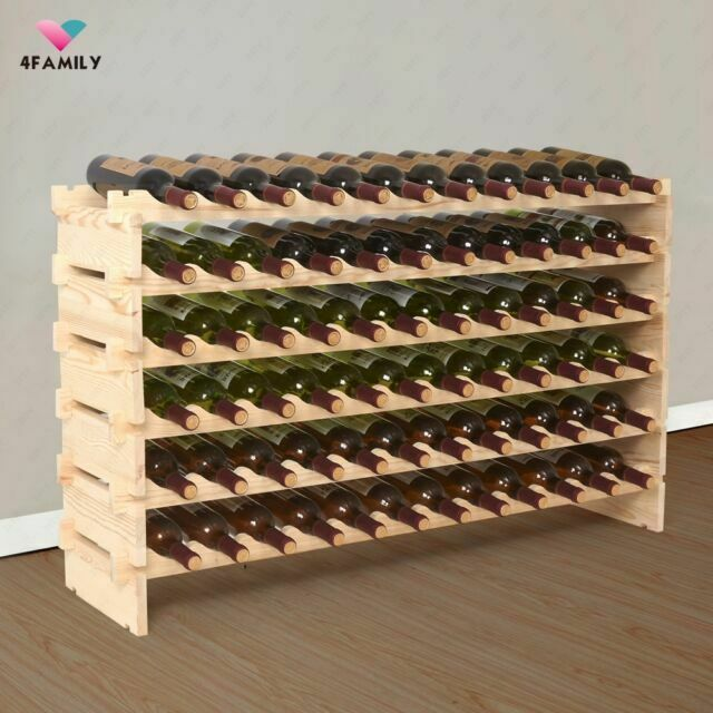 Wine Rack 72 Bottles Stackable Storage 6 Tier Solid Wood Display Shelves
