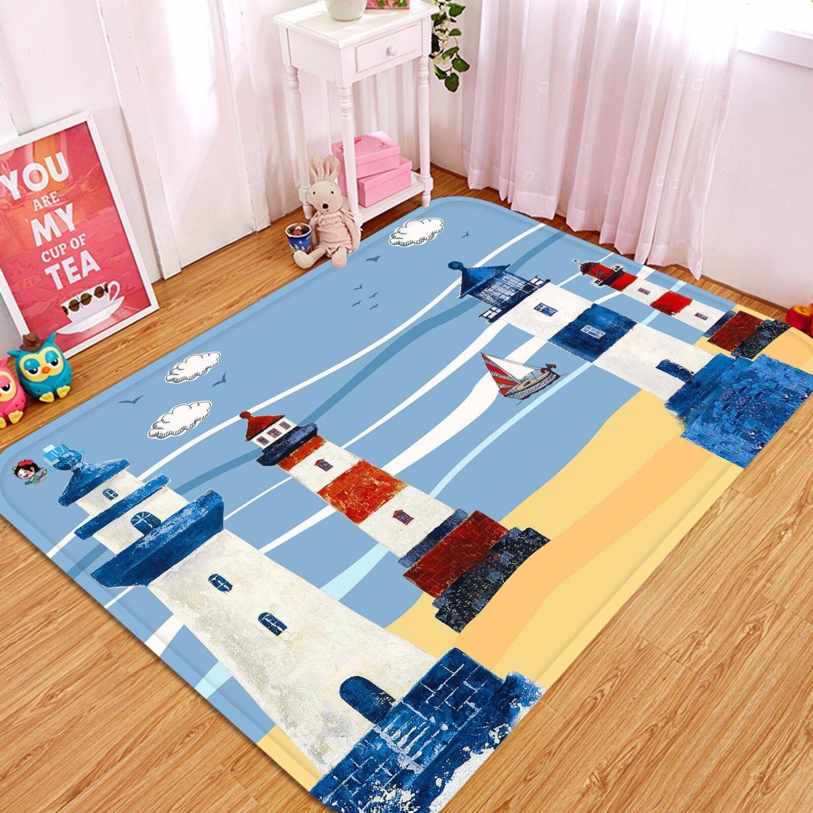 3D Lighthouse Beach Beach Beach 72 Non Slip Rug Mat Room Mat Round Elegant Photo Carpet CA 6bde61