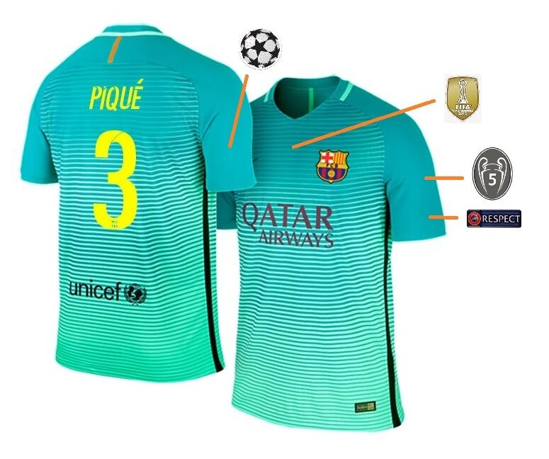 Trikot FC Barcelona 2016-2017 Third UCL - Pique 3 [128-XXL] Champions League