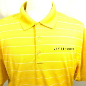 Nike-Golf-Live-Strong-Dri-Fit-Mens-Short-Sleeve-Yellow-Striped-Polo-Shirt-Sz-XL