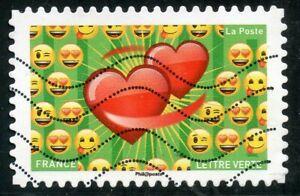 CoopéRative France Autoadhesif Oblitere N° 1565 Emoji / Emotions / Coeur Et Emoji Pour Aider à DigéRer Les Aliments Gras