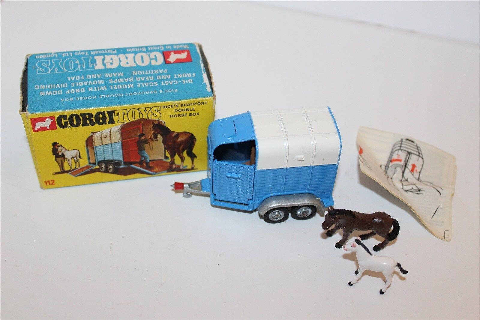 Corgi Toys Rice's Beaufort Double Horse Box No 112 Diecast Vehicle Original Box