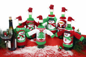 Details about Set Of 3 Ugly Christmas Sweater Holiday Wine Bottle Covers