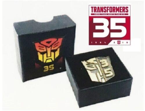 Transformers 100/% Hasbro 2019 Optimus Prime Gold Autobots 35th Anniversary Pin