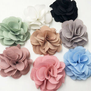10PCS-Big-Ribbon-Flowers-Bows-Carnation-Appliques-sewing-craft-wedding-lots-E330