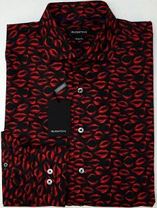 NWT-179-Bugatchi-LS-Shirt-Shaped-Fit-Mens-Size-XL-Lipstick-Black-Red-Cotton-NEW