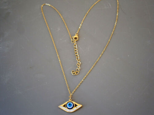 STAINLESS STEEL EVIL EYE NECKLACE GOLD /& SILVER TONE BEADS GREEK NAZAR MATI BEAD
