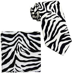New-Vesuvio-Napoli-Polyester-Men-039-s-Neck-Tie-amp-hankie-set-zebra-print-white