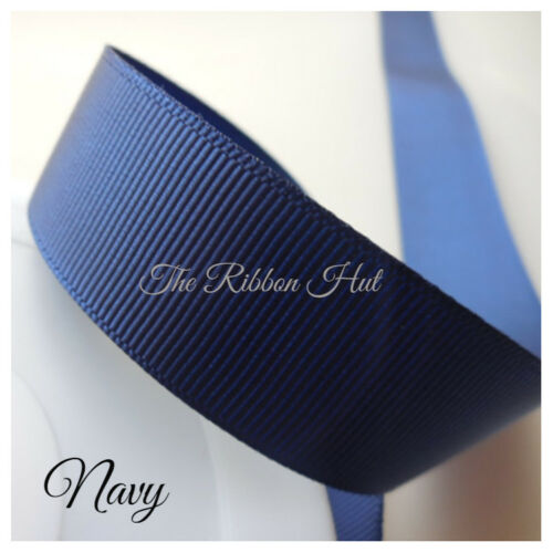 22mm x 10Mtrs Grosgrain Ribbon Solid Colours Trimmings Embellishments 16 Colours
