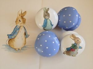 Details about 4 Beatrix Potter Peter Rabbit Decoupaged Wooden Cabinet  Drawer Knob 2 inches ❤️