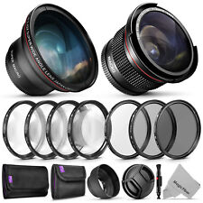 58mm Essential Accessory Kit Bundle for Canon with Fisheye and Wide Angle Lenses