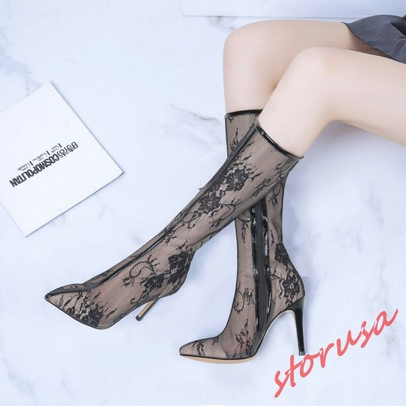 Womens Pointy Toe Lace Mesh Stiletto High Heels Summer Boots Side Zip Shoes Pump