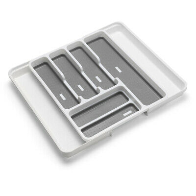 Addis Cutlery Utensils Drawer Organiser 6-Section Tray with Anti-Slip Base Green