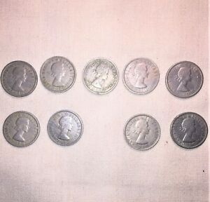 LOT #138 ALL nine(9) Vintage 1956 - 67 SILVERY TWO SHILLINGS George VI coins UK