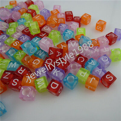 11795 6mm 300PCS MIXED Mini Square Cube Letter Alphabet Loose Bead Spacer Bead
