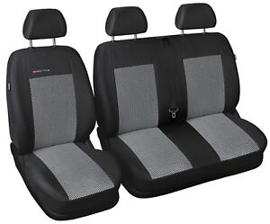 2 Black And White Piping HMS FOR PEUGEOT EXPERT 2007 1 Premium Van Seat Covers Single Drivers And Double Passengers Seat Covers