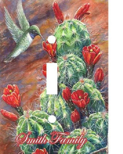 PERSONALIZED HUMMING BIRD CACTUS FLOWER LIGHT SWITCH PLATE COVER