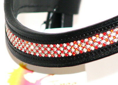 FSS FESTIVE CANDYCANE Curve 4 row Crystal RED WHITE CLEAR Bling German BROWBAND