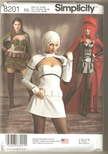 Simplicity Sewing Pattern 8201 Miss Cosplay Space Warrior Costumes Sz 14-22