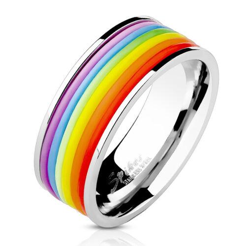 Ring Regenbogen Streifen Edelstahl Damen Herren Partnerringe