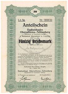 Radiumbad-Oberschlema-Schneeberg-i-Erzgebirge-1926-Anteilschein-50-RM-ungelo