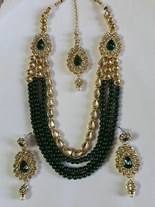 Details about Indian Bollywood Gold Plated Wedding,Temple Jewelry Kundan  Necklace Earrings Set