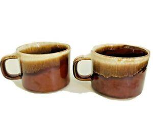 Set of 2 Vintage McCoy Pottery Brown Drip Glaze Coffee Mugs Cups D Handle USA