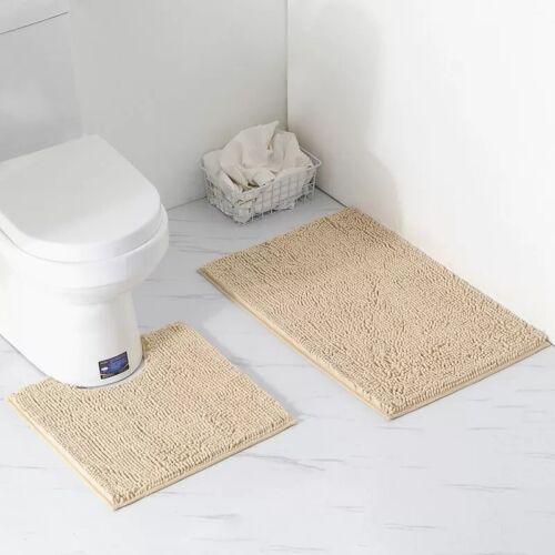 Microfibre Shaggy Chenille Bath Pedestal Mat Non Slip Bathroom Toilet 2pcs set
