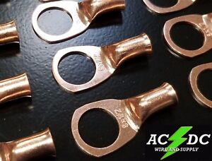 """100 4 gauge Ring 1//4/"""" Hole Terminal BATTERY Lug Bare Copper Un-insulated AWG"""