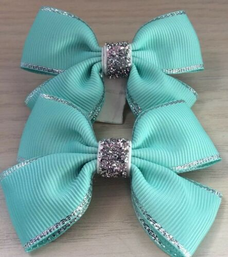 2 Girls Mint Green And Silver Handmade Ribbon School Hair Bows Clasps Clips