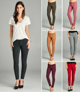 6be8643f0c49bd SALE Women's Solid Colored Stretch Leggings Pants w/ Pocket Mid Rise ...