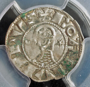 1163-Crusader-States-Antioch-Bohemond-III-Bi-Denier-Coin-Top-0-1-PCGS-AU50