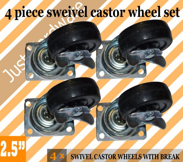 """4 X 2.5"""" 65mm SWIVEL CASTOR castors CASTER WHEEL 4 brake trolley castor wheels"""
