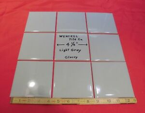 Image Is Loading 9 Pcs Light Gray Glossy Ceramic Tile By