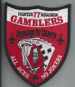 PATCH USAF 77TH FIGHTER SQ GAMBLERS DEALERS OF DEATH                           M