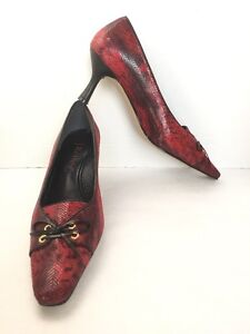 82f2c15ea9d J. Renee Women s Leather Red Croc Print Kitten Heel Pumps Size US 8 ...