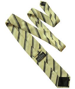 SAVILE-ROW-LONDON-Classic-Stripe-Yellow-Grey-Black-White-Striped-Silk-Tie