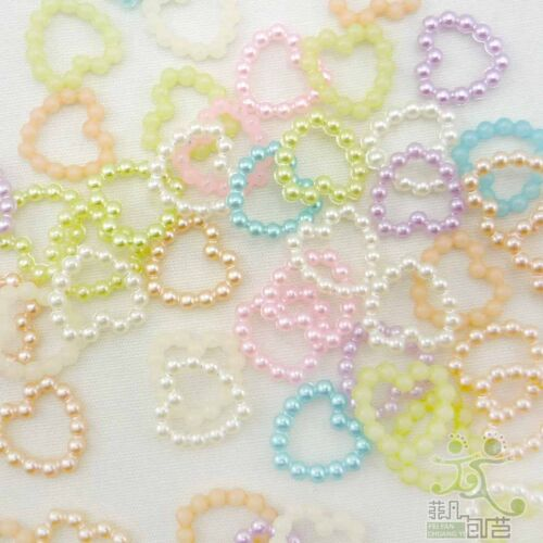 100 Pearl Bead Hearts Embellishments Craft Wedding Scrapbook Cards 11mm