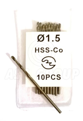 10 x 1.5mm Professional Drill Bits HSS-Co Cobalt Metal Plastic Wood