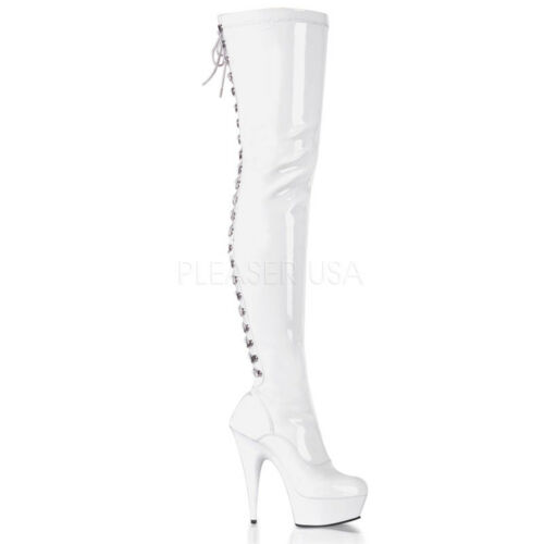 Pleaser Delight 3063 White patent stiletto lace-up thigh high boots 7 10 11