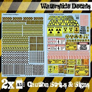Wasserschiebe Abziehbilder - Vorsicht Streifen und Zeichen - Aufkleber Diorama